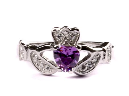 fd4ebe55e0cd2 Claddagh Ring with Amethyst Cubic Zirconia February Month BirthStone.